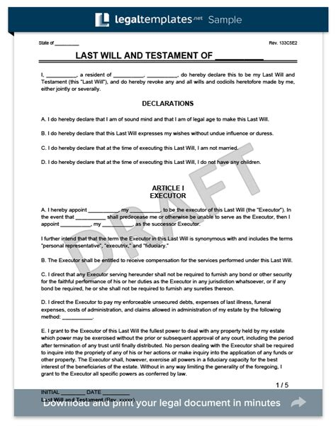 Sle Last Will And Testament Form Legal Templates Last Will Testament Template