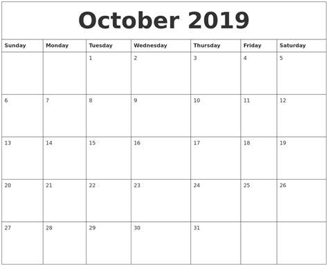 Calendar 2019 October October 2019 Word Calendar