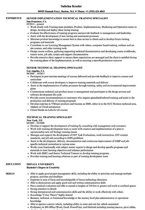 technical trainer resume technical specialist resume sles velvet