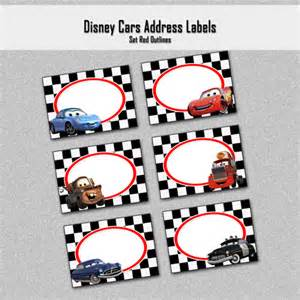 disney cars inspired address labels red outline