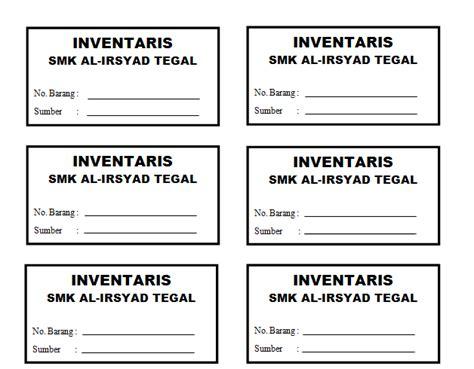 contoh kartu inventaris barang untuk kantor maupun sekolah