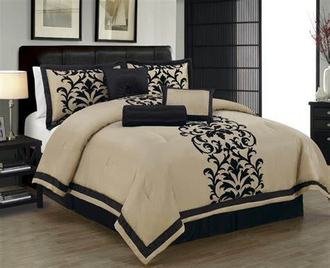 7 piece cal king dawson black and taupe comforter set ebay