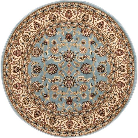 blue circular rug well woven barclay sarouk light blue 5 ft 3 in traditional floral area rug 549360 the