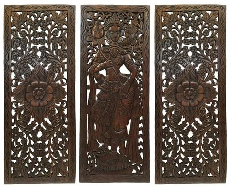 multi panels oriental home decor wood carved floral wall art bali ho asiana home decor