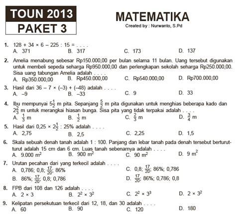 Matematika Untuk Pariwisata Smk Jl2 Ktsp 15 paket soal latihan ujian sekolah sd mi matematika soalujian net