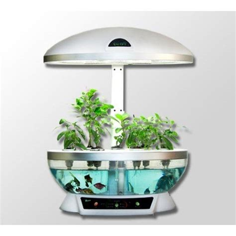 hydroponic herb garden kit aquaponics system fish tank aquarium planter grow light
