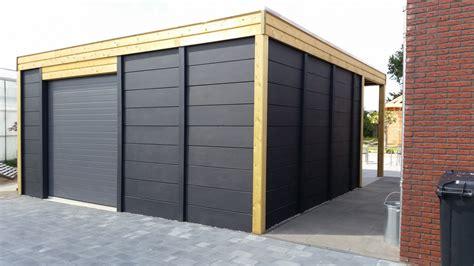 tuinhuis bouwpakket module berging dubbelwandig met dubbele carport sbnbouw nl
