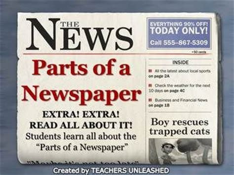 sections of a newspaper newspaper authors purpose and test prep on pinterest
