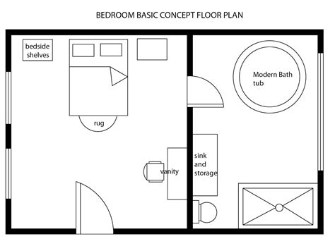 floor plan bed interior design decor modern bedroom basic floor plan