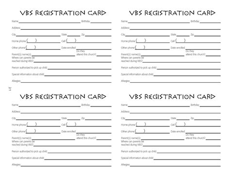 church registration card template children s ministry vbs registration cards