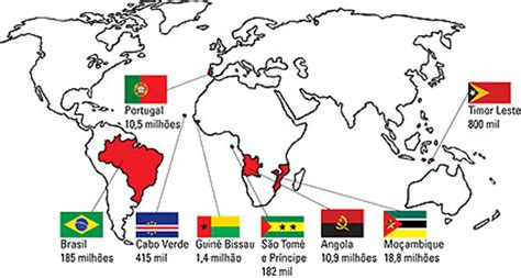 how many speaking countries are there map of portuguese speaking countries