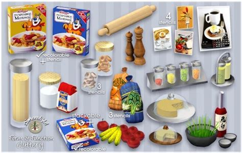 sims 4 food clutter kitchen decor by simcredible sims3 decor pinterest