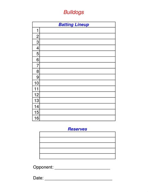 batting lineup template free baseball lineup card template write happy ending