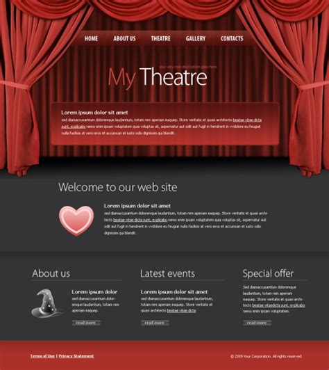 theater template theater css template 5973 entertainment media