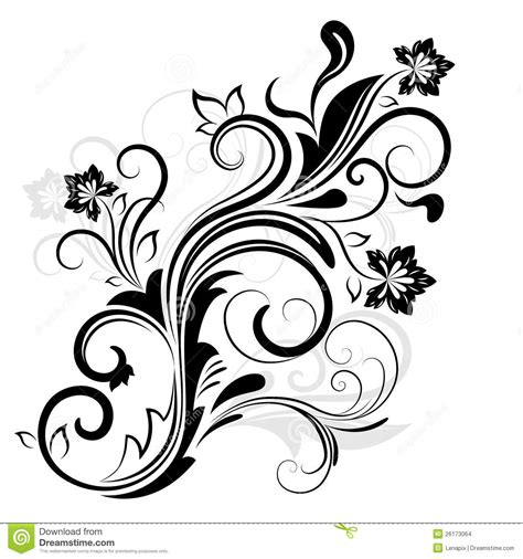 white design black and white floral design stock images image 26173064