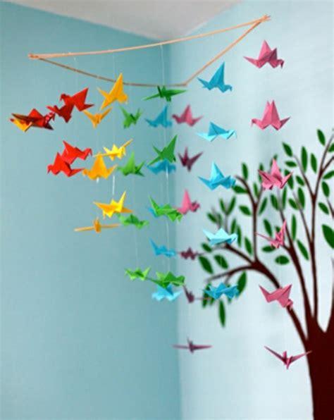 kinderzimmer deko blumen origami falten blume sterne und tiere als deko im