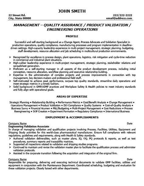 quality resume templates quality manager resume the best letter sle