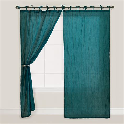 Teal Curtains Teal Crinkle Voile Curtain World Market