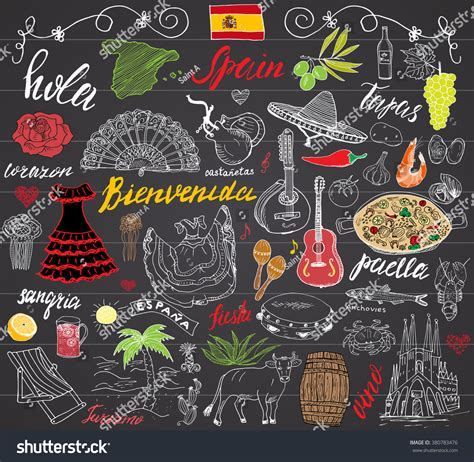doodle espa ol spain doodles elements set stock vector