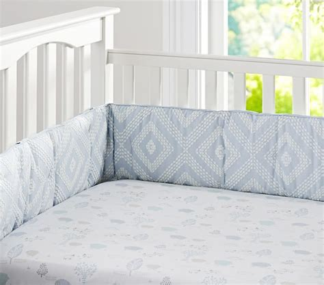 Embroidered Crib Bedding Embroidered Baby Bedding Set Blue Pottery Barn