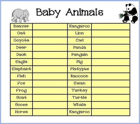 printable baby animal game free baby shower game
