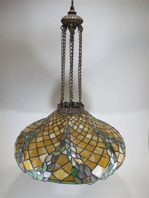 Slag Glass Chandelier Vintage American Bronze Slag Glass Chandelier