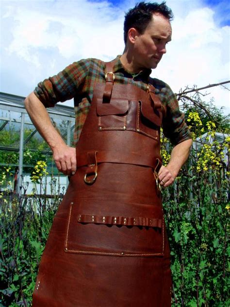 leather apron woodworkers super deluxe pockets  brass
