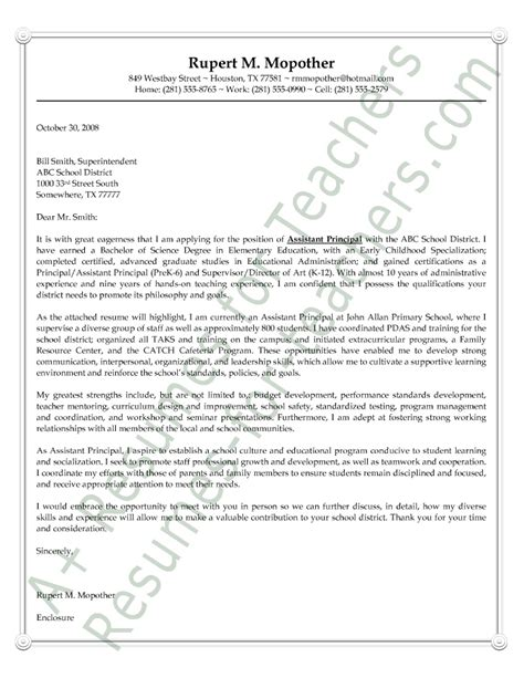Cover Letter For Principal Assistant Principal Cover Letter