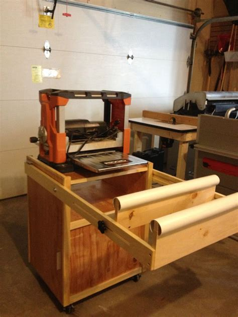 shop bench plans mobile planer cart with drawer and outfeed arms