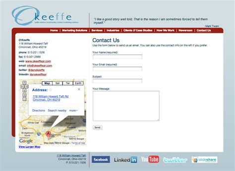 contact us page with map html o keeffe pr christopher mcmahon