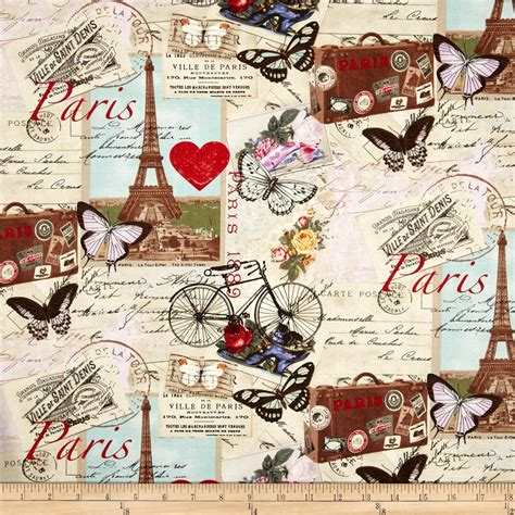 Travel Themed Home Decor by Timeless Treasures Paris Collage Antique Discount