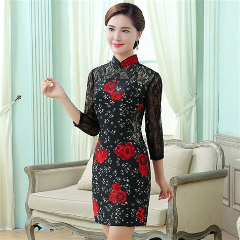 Sleeve Lace Qipao fetching roses lace sleeves silk cheongsam qipao dress