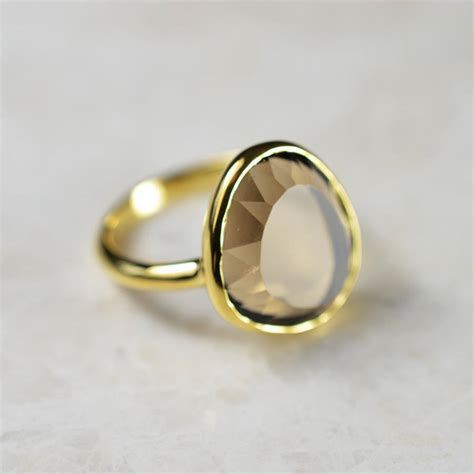 cressida ring gold and smoky quartz by flora bee