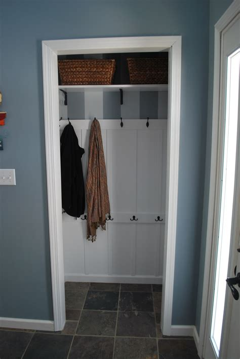Entryway Closet Ideas by Turned Front Closet Into Entryway Quot Mudroom Quot For Less