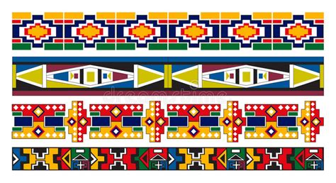 set traditional african ndebele patterns vector stock ndebele african border pattern art stock vector