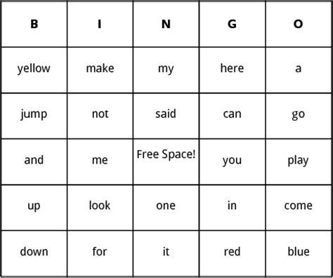 sight words bingo card template preschool sight words bingo by bingo card template