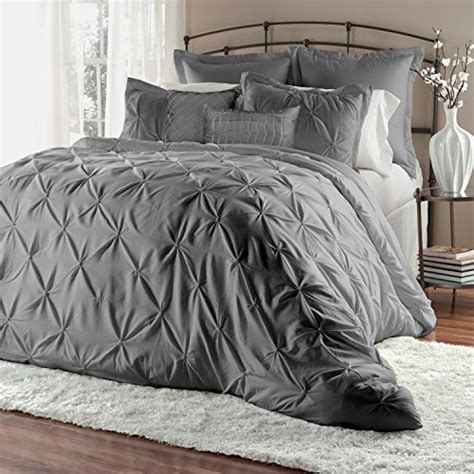 wrinkle free grey and white comforter set unique home 8 lucilla pinch pleat comforter set fade resistant wrinkle free no ironing
