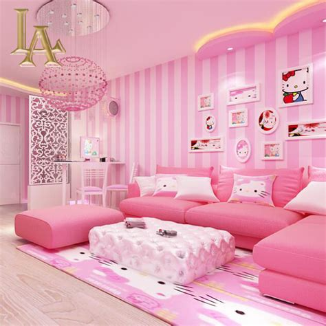 pink wallpaper for bedroom aliexpress com buy cozy children room blue pink striped