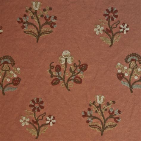 home decorator fabric by the yard or127 floral crewel embroidered cinnamon by the yard drapery home decor fabric