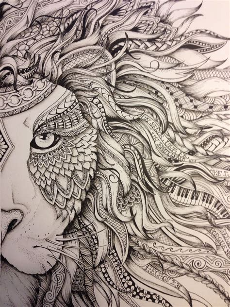 Lion Zendoodle Drawn By Justine Galindo Signed Prints | lion zendoodle drawn by justine galindo signed prints