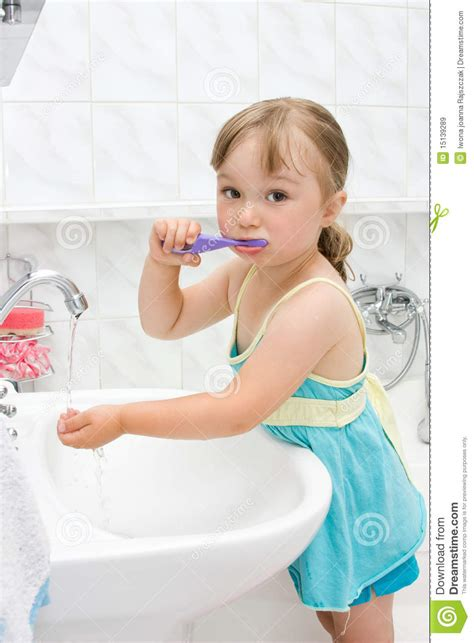 little girls bathroom little girl in bathroom royalty free stock images image