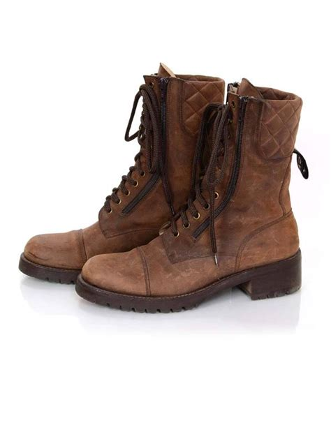 chanel 90s vintage brown suede combat boots sz 40 for