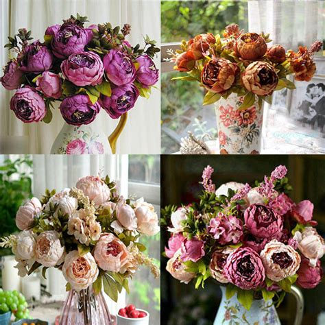 flower arrangements home decor artificial silk flowers arrangements floral home decor peony home accessories ebay
