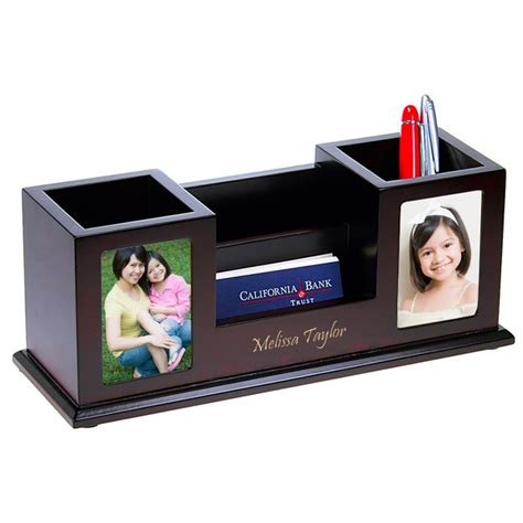 Multi Function Desk Organizer With Twin Photo Frames