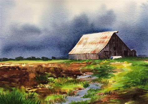 free painting landscape painting watercolor landscape painting stock