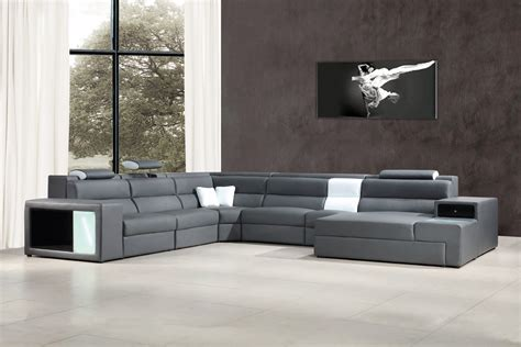 Grey Sofa Sectional Polaris Grey Bonded Leather Sectional Sofa Modern Sofas Living Room