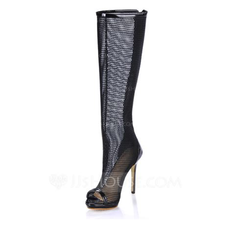 patent leather stiletto heel peep toe knee high boots with