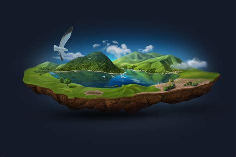 3d illustration his car floating floating island layered illustration illustrations on