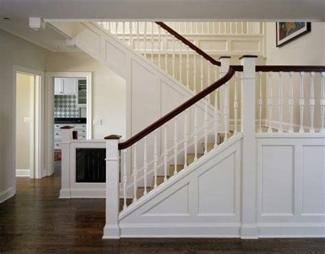 traditional switchback stairs   panelling, handrail easing