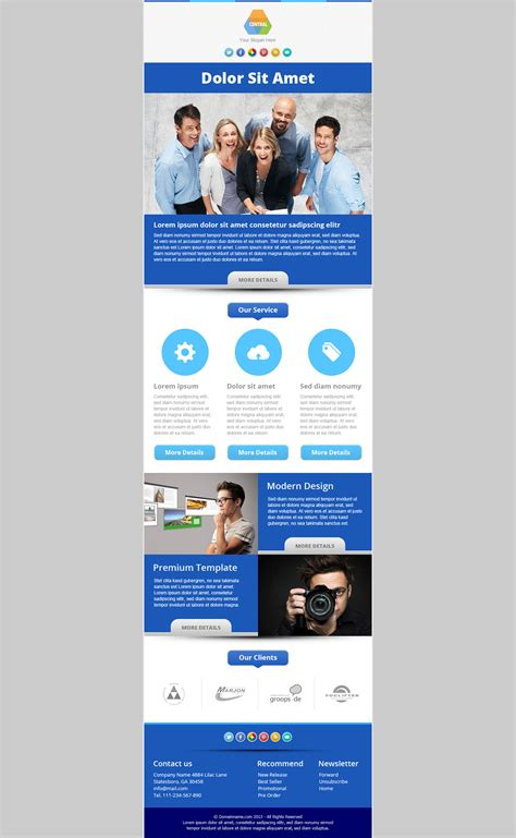 responsive email newsletter templates central responsive email newsletter template by pophonic